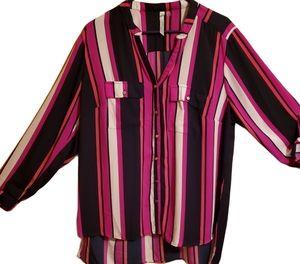 Women's sheer multi striped plus size dress blous